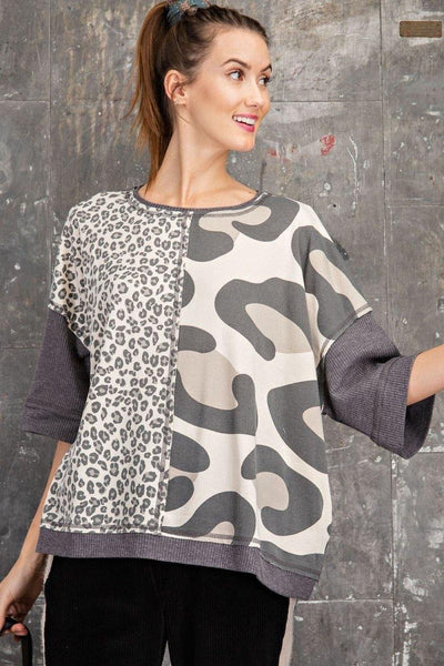 Ash Colored Leopard Box Print Top - THE WEARHOUSE