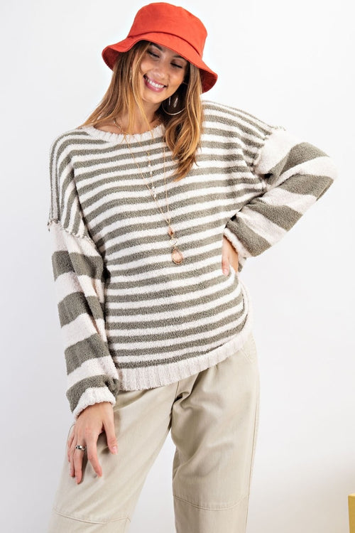 Faded Olive Striped Sweater