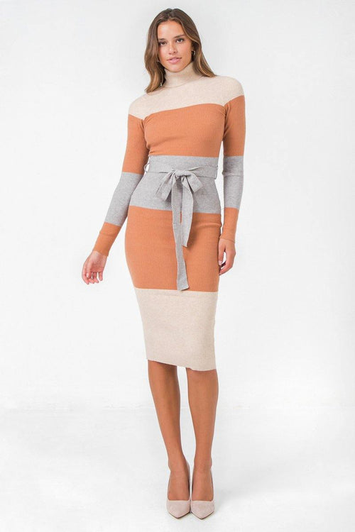 Beige and Grey Turtleneck Color Block Midi Sweater Dress
