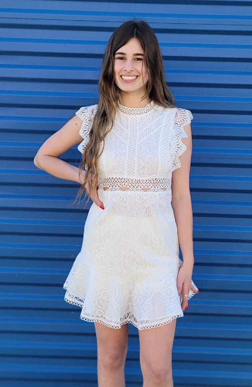 White Lace Detailed Dress