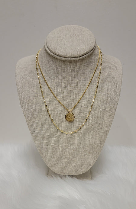 Bethany Grey Beaded Layered Necklace