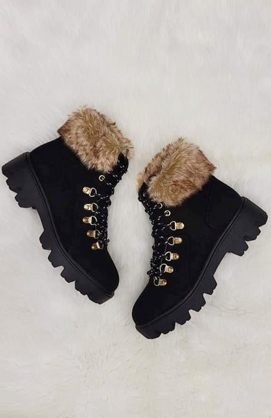 Maddie Lace- Up Combat Booties