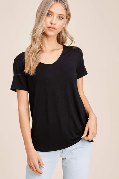 Black V-Neck Criss Cross Over Back Top
