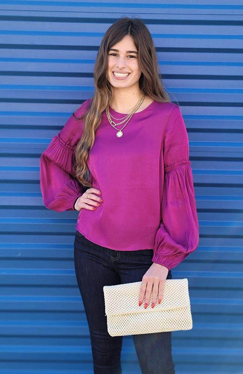 Berry Colored Puff Sleeve Blouse