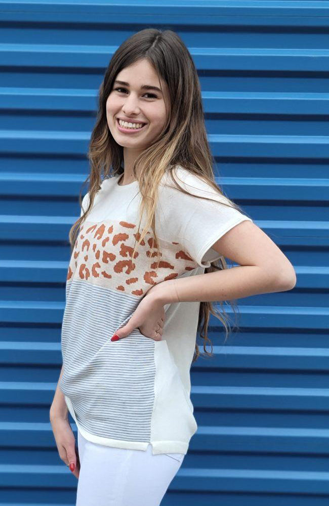Ivory Round Neck Leopard Color Blocked Top