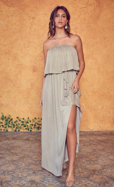 Olive Silver Open Back Maxi Dress