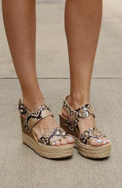 Snake Tan Wedge Sandals