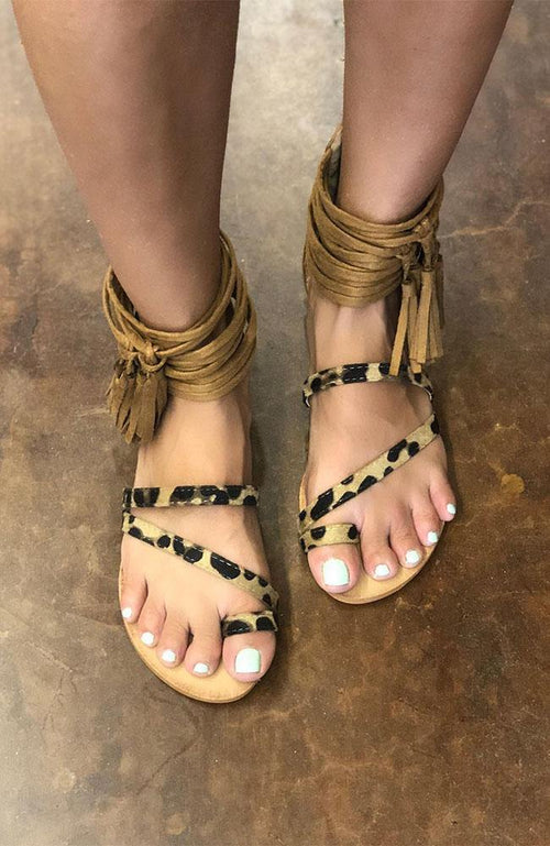 Leopard Ankle Strappy Tassel Sandals
