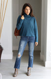 Teal Turtleneck Dolman Sleeve Knit Top
