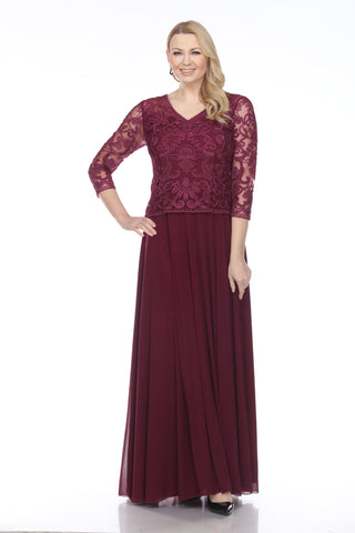 1901 SOUTACHE LACE V-NECK LONG DRESS