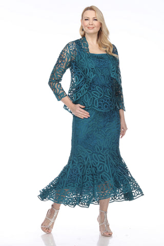 D9122 Flower Lace Crochet Three Pieces Evening Gown