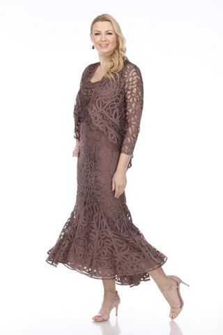 7346 Soulmates Soutache 3pc T-Length Lace Evening Dress Suit
