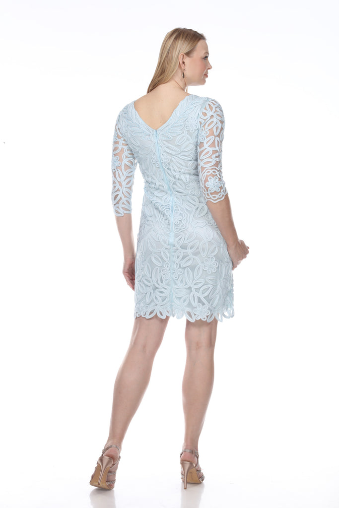 1615 SOUTACHE LONG SLEEVE SHEATH DRESS