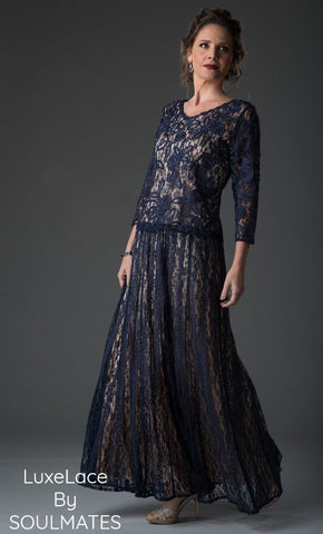C2300 Asymmetrical Lace Tunic Skirt Set