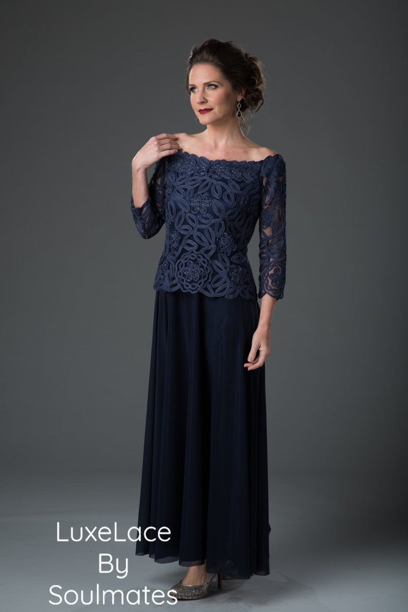 1614 OFF SHOULDER EVENING GOWN