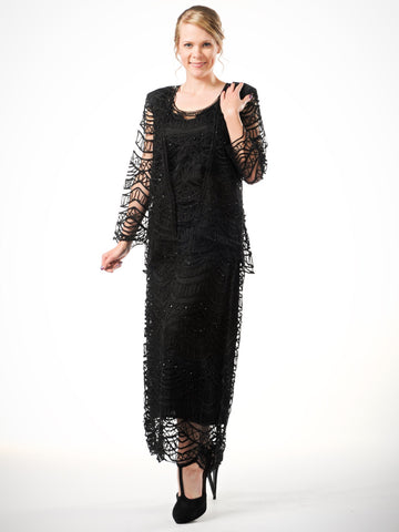 C903 Crochet Lace V-Neck 3/4 Bell-Sleeve Dress