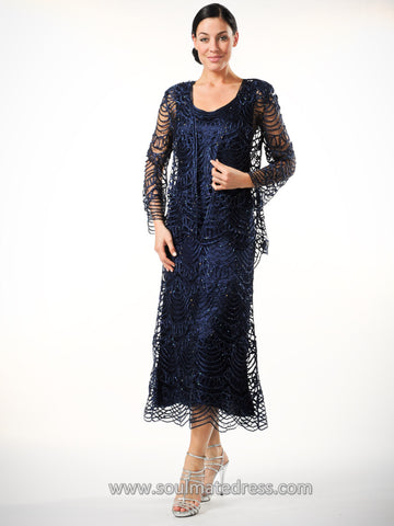 D7069 Hand Crochet Dress and Jacket