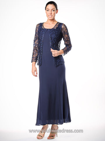 C80952 Embroidered Floral Lace Three Piece Evening Gown