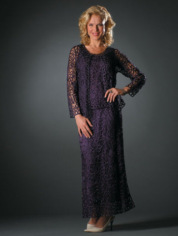 1616 SOUTACHE EMBROIDERED LACE EVENING GOWN DRESS