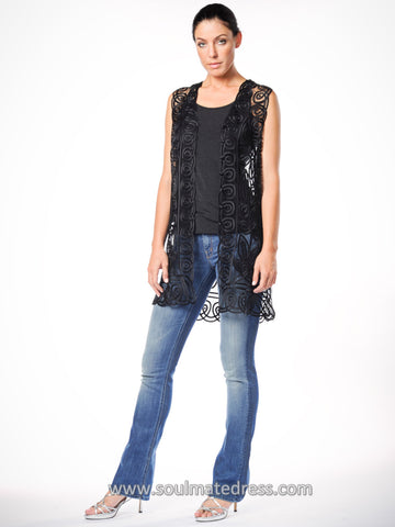 C3109 Embellished Beaded Fringe Hem Top