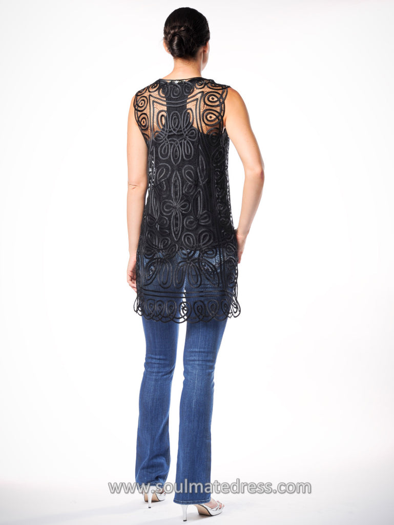 C21L LONG SILK CROCHET VEST
