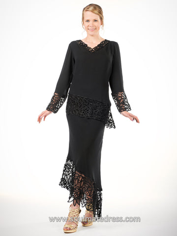 1610 Soutache Lace 3/4 Sleeve Top with Circle Skirt