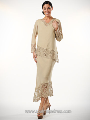 C805809 Asymmetrical Silk Crochet Lace Tunic Skirt Set