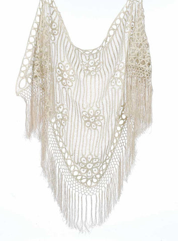 C8812 Hand Crochet Beaded Poncho