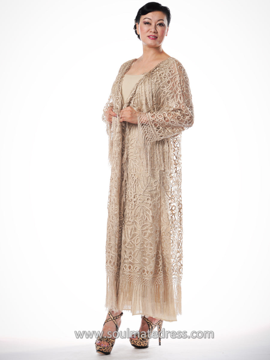 C390 STYLISH CROCHET BEADED COAT LONG DUSTER