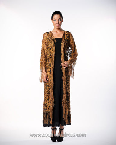 C390 BEADED CROCHET FRINGE COAT