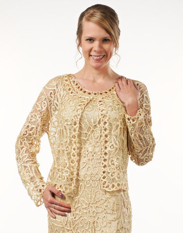 1501 Tea Length Soutache Dress Bolero Jacket Set