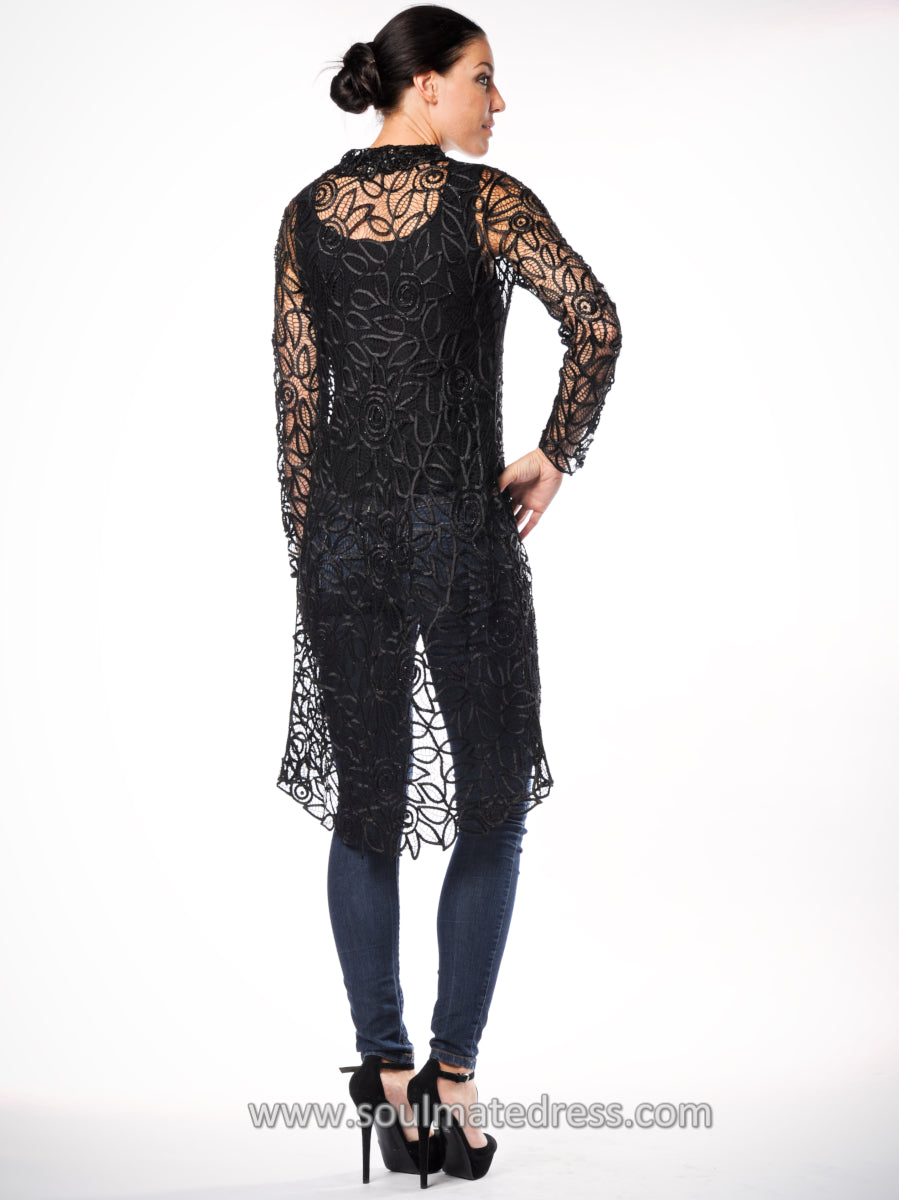 C708 COLLAR SEQUIN LACE DUSTER COAT