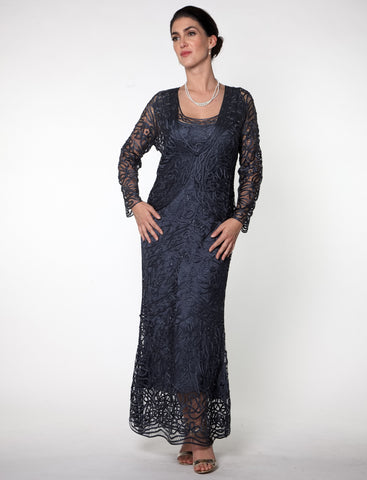 D7068 Unique Hand Crochet Straps Lace Three Pieces Gown