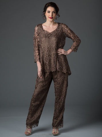 C8057 Babydoll Tunic Top Pants Set