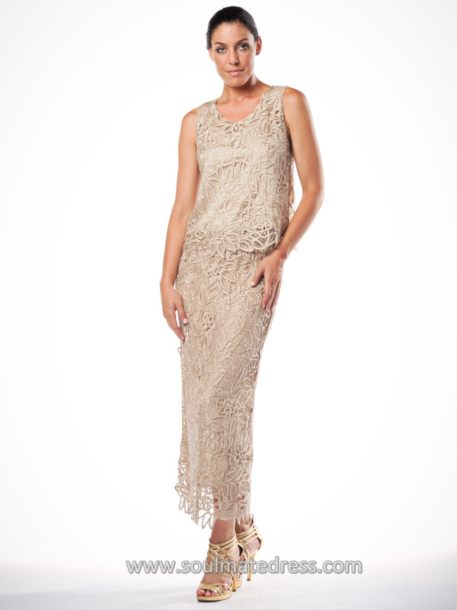 C80952 Embroidered Floral Lace Three Piece Evening Gown – Soulmates
