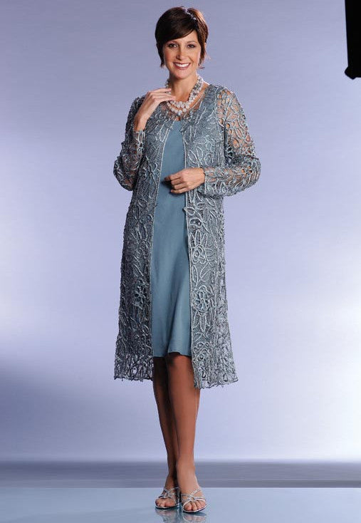 C88001 BEADED DUSTER DRESS 2PC SET