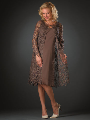 1603 Soutache Lace Embroidered Dress and Jacket Gown