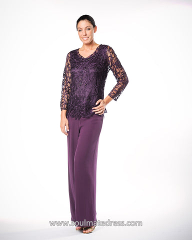 C805803 Asymmetrical Silk Lace Tunic Pants Set