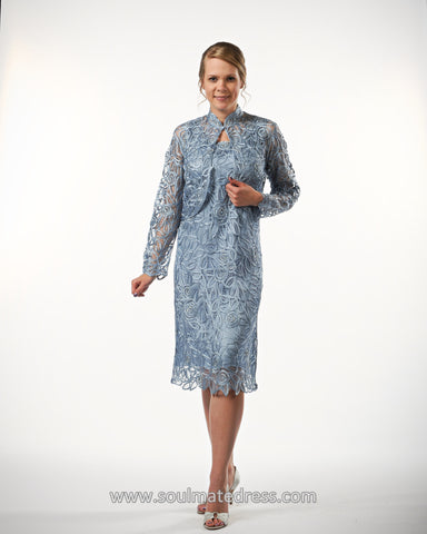 D859709 BELL SLEEVE TUNIC AND SKIRT SET