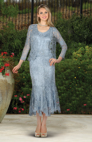 D7156 Beaded Crochet Evening Dress Set