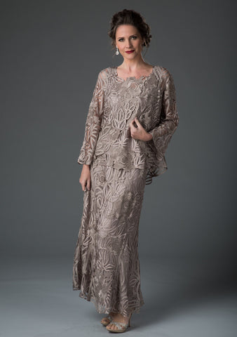C1068 Beaded Silk Lace Collar Jacket with Godet Dress Set