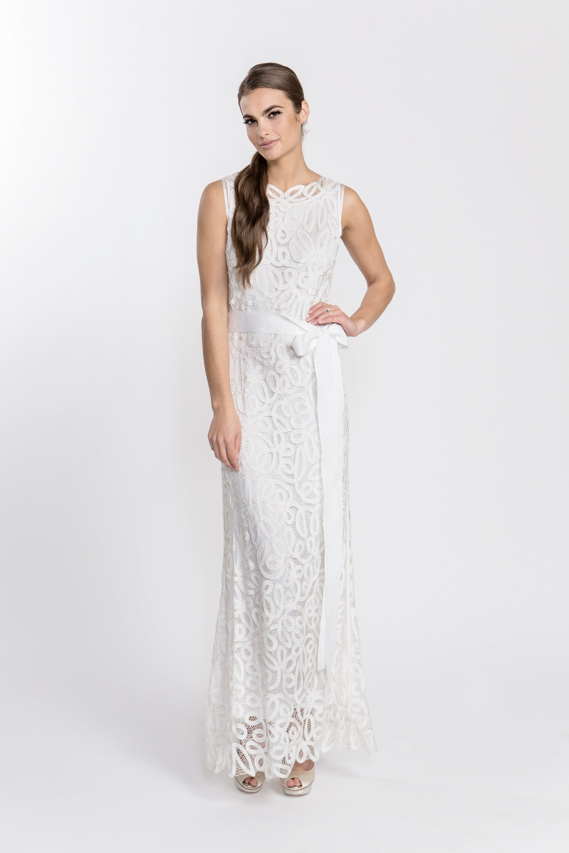 D1312 Crochet Sleeveless Long Dress Gown