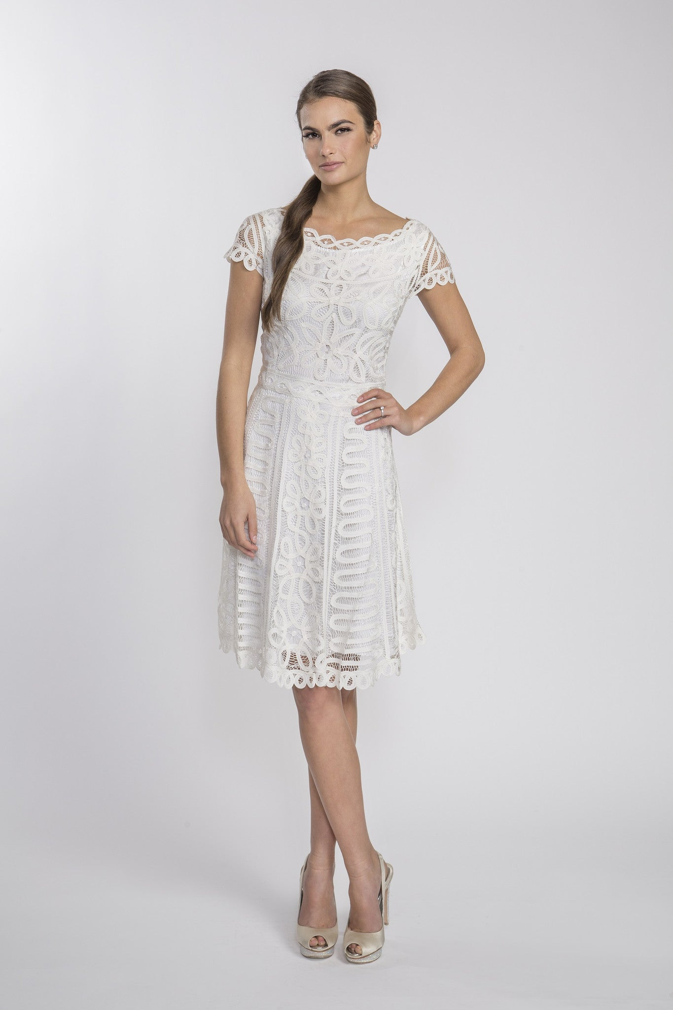 D1319 White Crochet Lace Wedding Party Bridal Shower Dress