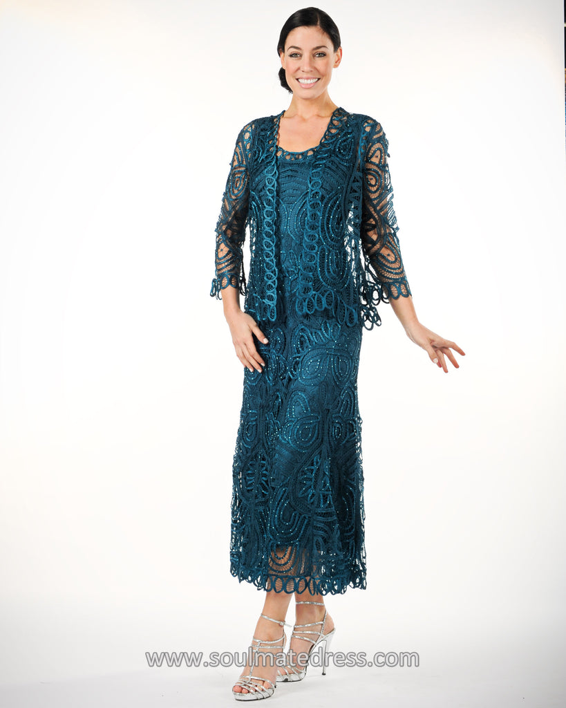 D7052 Classic Hand-Crocheted Lace Evening Dress