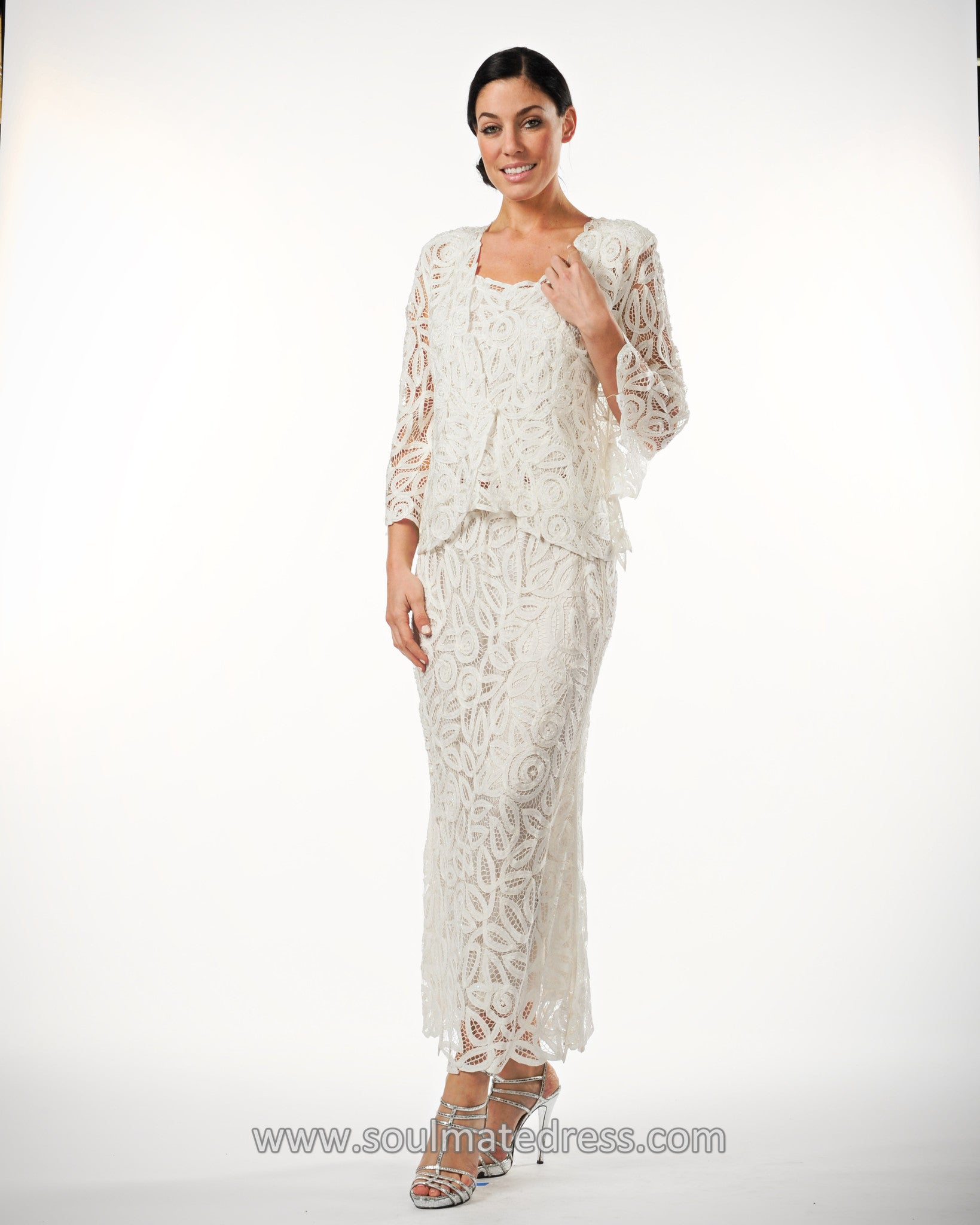 D7107 Hand Crochet 34 Bell Sleeve Three Piece Evening Gown Soulmates