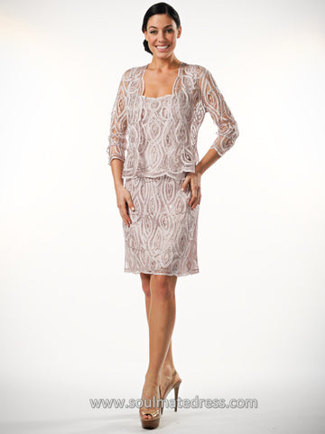 D1106 Rose Lace Jacket & Dress Set