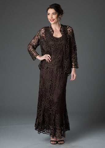 D7107 Hand Crochet 3/4 Bell Sleeve Three Piece Evening Gown