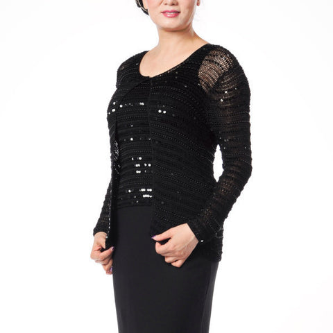 C12505 Crochet Jacket & Solid Dress Set