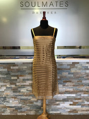 SPAGHETTI STRAP GOLD SHIFT DRESS MEDIUM