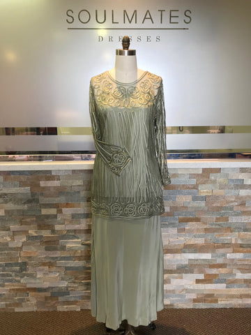 D9124 High-Low Beaded Evening Gown
